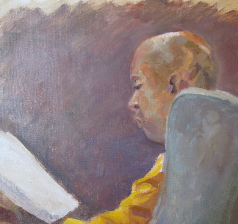 Under the lamp with a good book. oil on canvas,