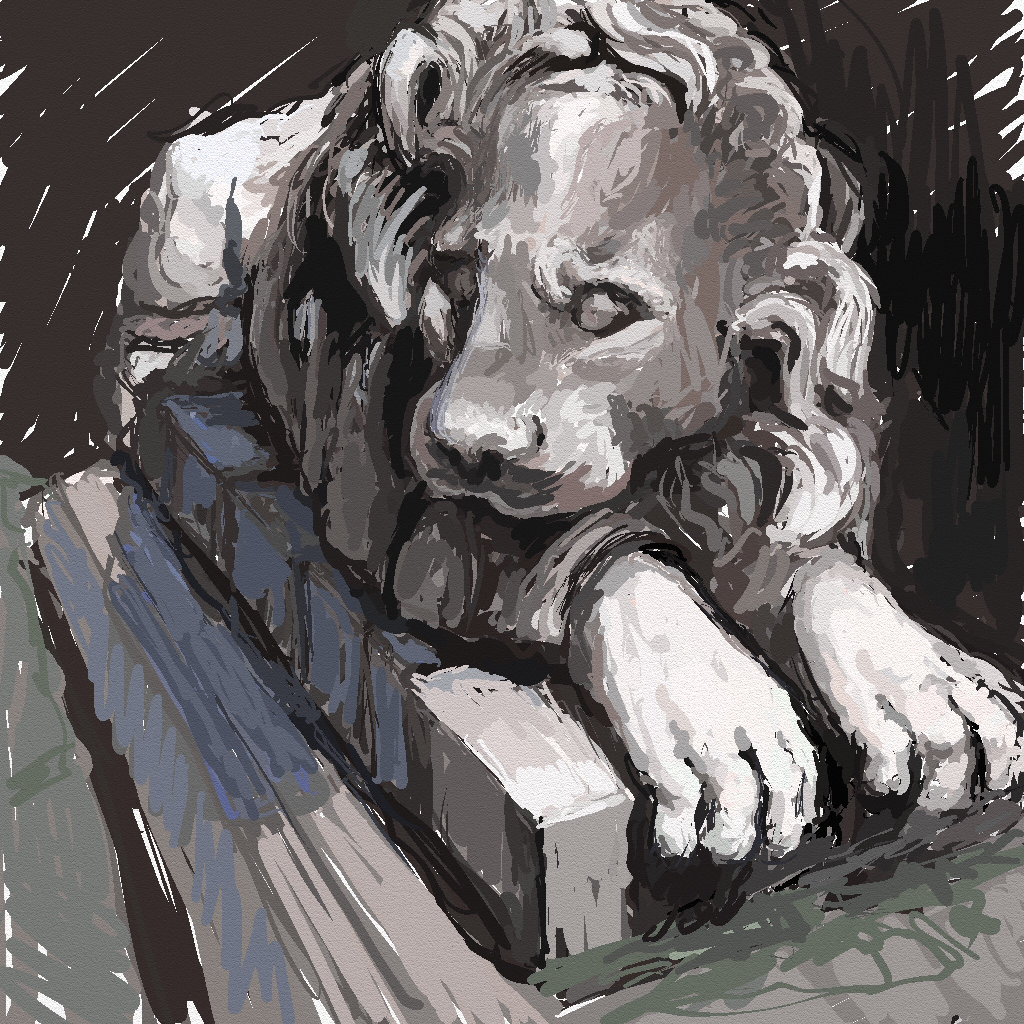 painting of a stone lion sculpture displayed at Baltimore Museum of Art